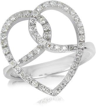 Forzieri Diamond Crossing Heart 18K White Gold Ring