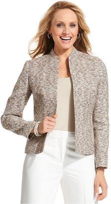 Kasper Petite Jacket, Open-Front Tweed