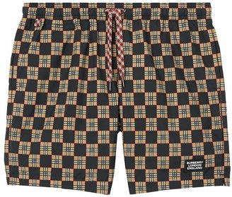 Burberry Chequer Print Drawcord Swim Shorts
