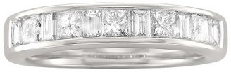 Princess 1 CT T.W. and Baguette Channel Wedding Band 14K White Gold (G-H, SI1)