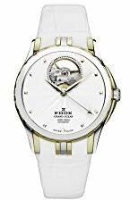 Edox Men's 85012 357J AID Grand Ocean Automatic Gold PVD White Leather Window Watch
