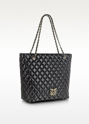 Moschino Black Quilted Eco Leather Tote