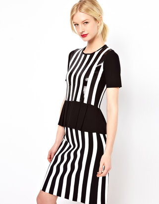 Jaeger Boutique by Knitted T-Shirt in Stripe