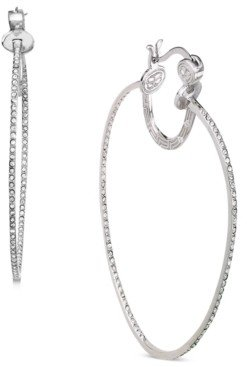 Simone I. Smith Platinum Over Sterling Silver Earrings, Crystal In-and-Out Hoop Earrings