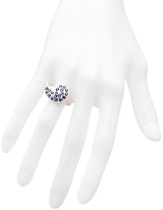 Kendra Phillip Silver And Sapphire Grace Cocktail Ring
