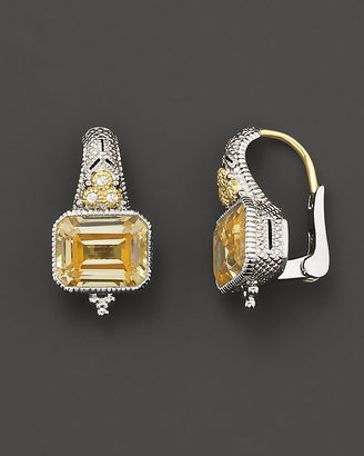 Judith Ripka Sterling Silver and 18K Gold Estate Cushion Earrings With Canary Crystal And White Sapphires