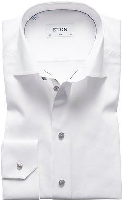 Eton White Twill Shirt With Grey Details - Slim Fit