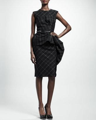 Lanvin Trompe l'Oeil Check Peplum Dress, Dark Gray