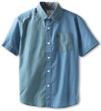 Volcom Why Factor End on End S/S Button Down (Vintage Blue) Boy's Short Sleeve Button Up