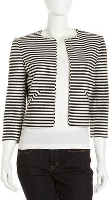 Isaac Mizrahi Striped Cropped Blazer, Black/White