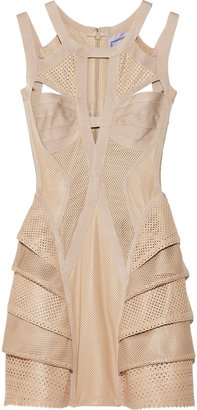 Herve Leger Perforated leather bandage dress