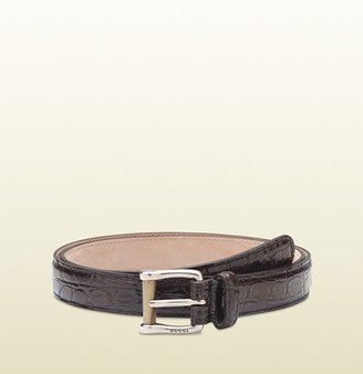 Gucci Brown Crocodile Skinny Belt With Horn Detail