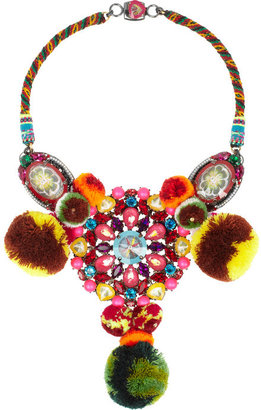 Swarovski MARIO TESTINO FOR MATE by VICKISARGE ruthenium-plated, crystal and pompom necklace