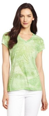 Chaus Women's V Neck Optical Graphic Cap Sleeve Tee