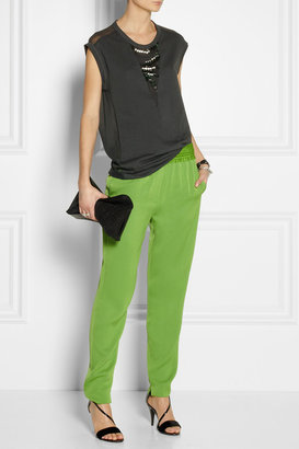 3.1 Phillip Lim Embellished cotton-jersey and silk-chiffon top