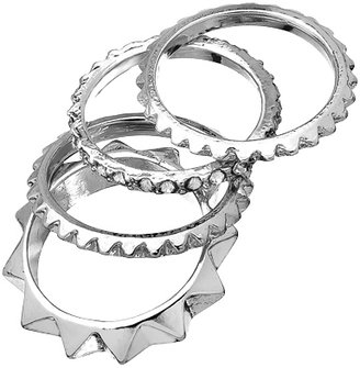 Blu Bijoux Set of Four Silver Spike and Crystal Rings