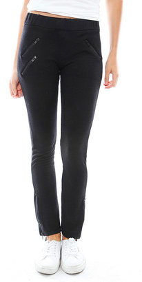 Monrow Moto Zipper Sweatpants in Black