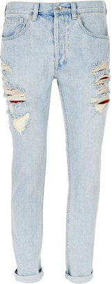 Topman Mid Blue Ripped Vintage Skinny Jeans