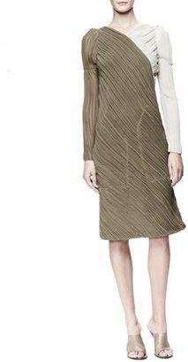Chloé Long-Sleeve Asymmetric Georgette Dress, Khaki/Cream