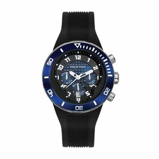 Philip Stein Teslar Dual Time Zone Chronograph Analog Display Japanese Quartz Watch Black Rubber Band Pin Buckle Blue Dial with Extreme Frame Natural Frequency Technology Provides Energy - Model 33-XBL-RB