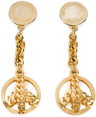 Moschino Pre-Owned 1980's large drop peace earrings