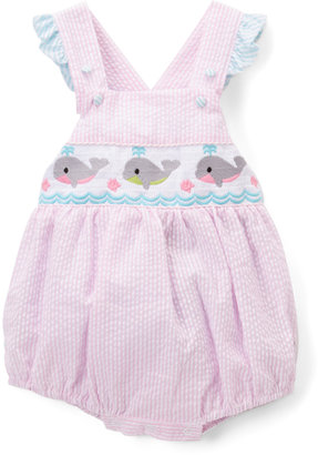 Pink & Blue Whale Smocked Bubble Romper - Infant & Toddler