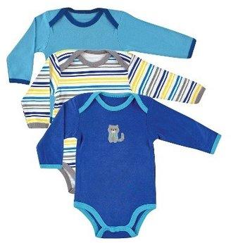 Luvable Friends Pacimals Newborn Boys' 3 Pack Long-sleeve Bodysuit Set - Blue