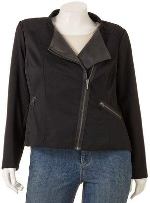 Apt. 9 faux-leather trim motorcycle jacket - women's plus