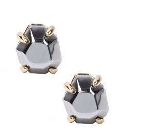 Landver 18ct Gold Plated Gunmetal Gemstone Earrings (+)