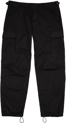 Aries Black Stretch-cotton Cargo Trousers