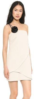 Halston One Shoulder Dress with Removable Flower