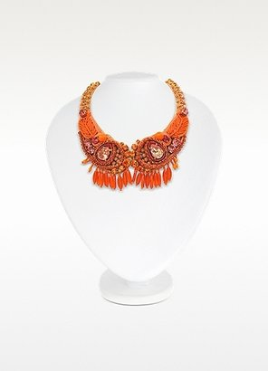 Rada' Radà Orange Crystal and Bead Choker Necklace