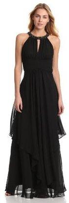 Eliza J Women's Sleeveless Beaded Keyhole Layered Dress