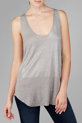 7 For All Mankind Shimmer Colorblock Tank In Grey/Silver