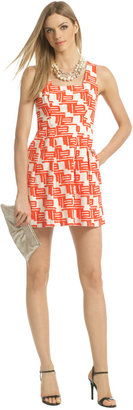 Shoshanna Citrus Tribal Flare Dress