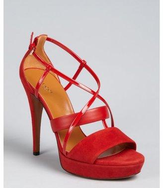 Gucci tomato suede crisscross strap platform sandals