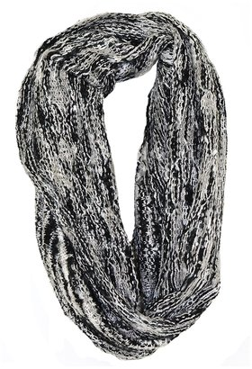 Paula Bianco Mixed Knit Infinity Scarf in Black/Cream