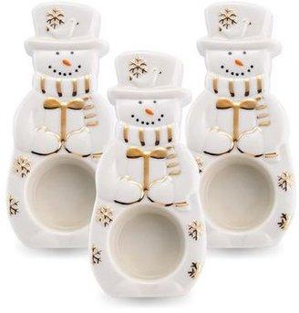 Mikasa Holiday Splendor Set of 3 Snowman Tea Light Holders