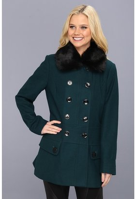 Esprit Double Breasted Peacoat with Faux Fur Removable Collar (Emerald Green) - Apparel