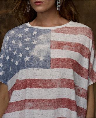 Denim & Supply Ralph Lauren Top, Short-Sleeve Flag-Print Burnout Tee