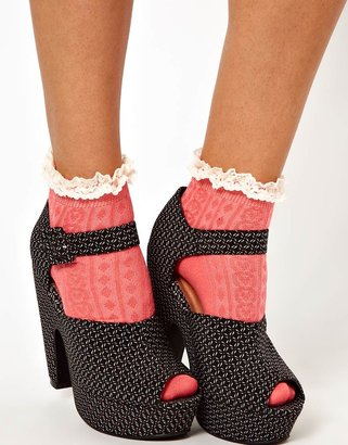 River Island Pink Bright Cable Design Frill Ankle Sock