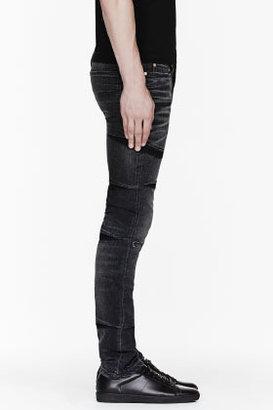 Neil Barrett Black Faded Detailed Skinny Jeans