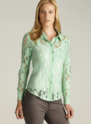 Isaac Mizrahi Bridge Hampton Lace Button Down Top