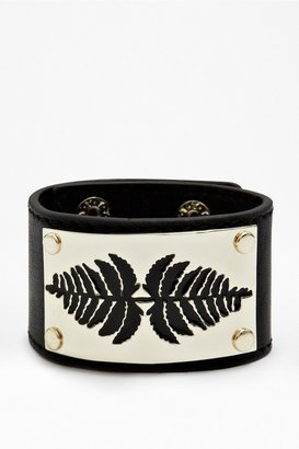 French Connection Laser Fern Leather Cuff