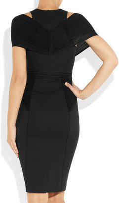 Donna Karan Stretch-crepe and ruched jersey dress