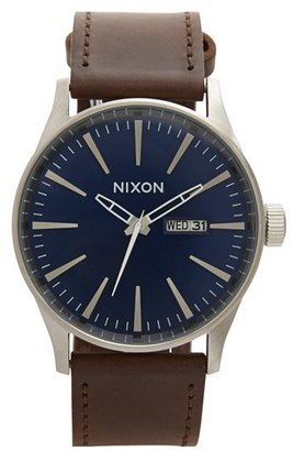Nixon The Sentry Leather Strap Watch, 42Mm $150 thestylecure.com