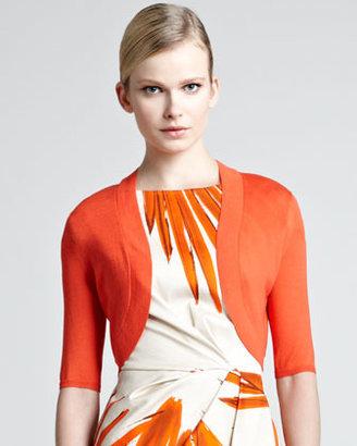 Lela Rose Knit Silk Shrug, Blood Orange