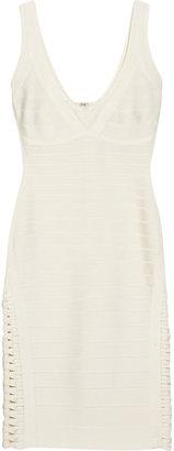 Herve Leger Woven-detailed bandage tank dress
