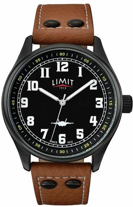 Limit Men's Pilot Style Tan Faux Leather Strap Watch