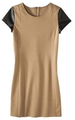Mossimo Women's Short Sleeve Ponte w/Faux Leather Dress - Assorted Colors